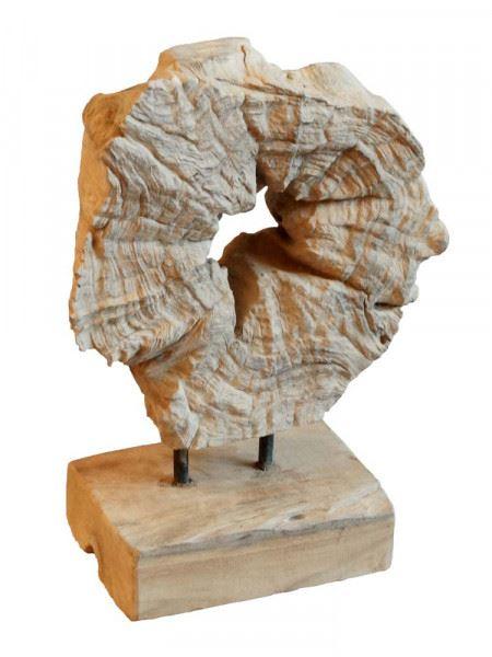 Deko-Skulptur Teakscheibe mit Loch