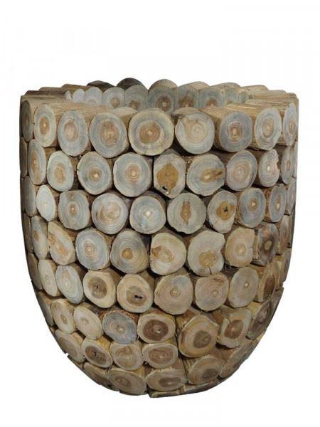 Pflanzkübel aus Teakholzscheiben, mittlere Größe