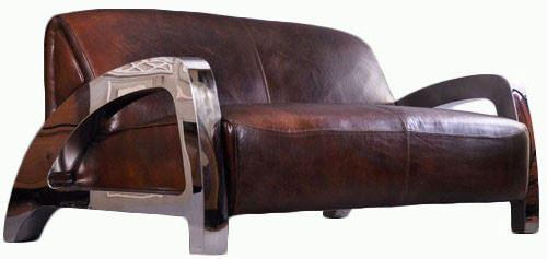 Design-Clubsofa Memphis aus Vintage-Leder und verchromtem Aluminium