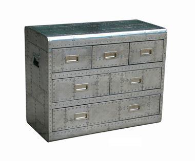 Kommode Headford, aluminiumbeschlagen mit sechs Schubladen