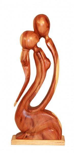 Wohndekoration Skulptur Küssendes Pärchen aus Teakholz M