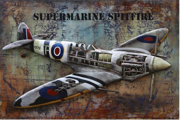 Handgefertigtes Metallbild Spitfire ca. 120x80 cm