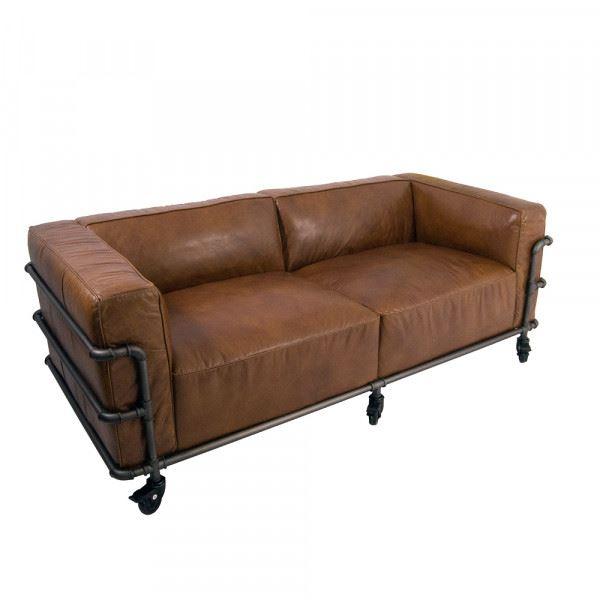 Clubsofa Wakefield 2-Sitzer Cuba-Brown Aluminium-Rohr