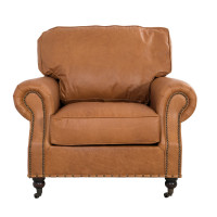 Clubsessel Wales Leder Columbia Brown