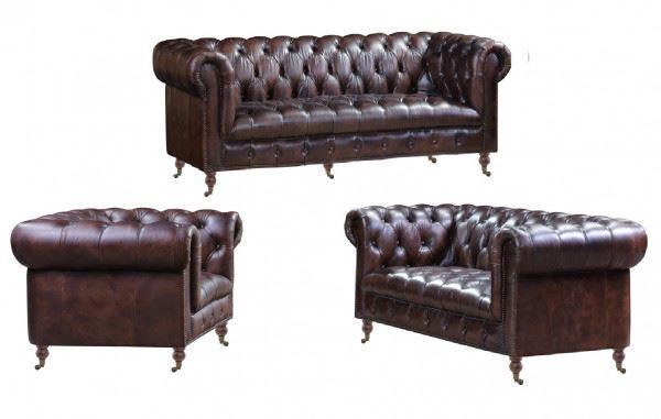 Chesterfield Ledergarnitur Mansfield 3-Sitzer 2-Sitzer und Sessel 3+2+1