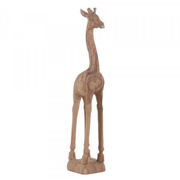 Wohndekoration Tierskulptur Giraffe aus Teakholz ca. 120 cm