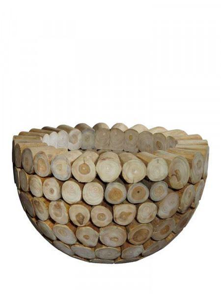 Blumenkübel aus Teakholz-Scheiben, kleine Größe