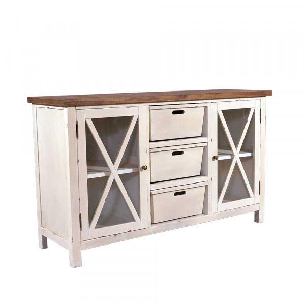 Sideboard Loire Holz Vintage Look creme weiß