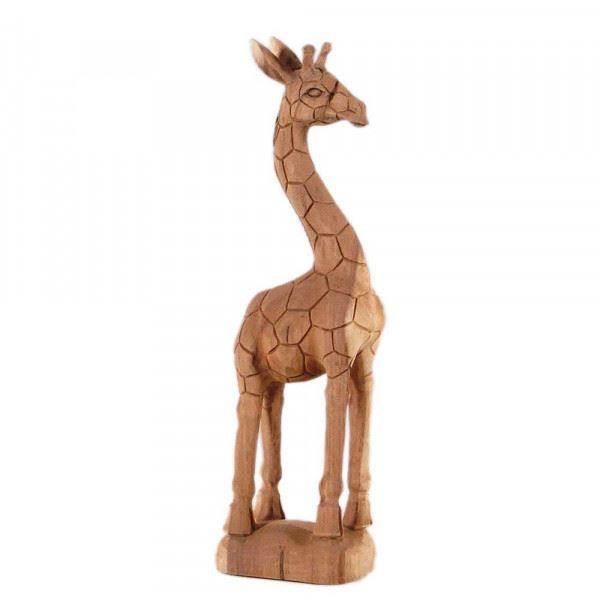 Wohndekoration Tierskulptur Giraffe aus Teakholz ca. 60 cm