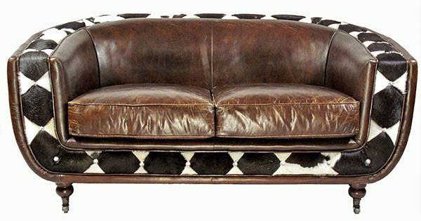 Clubsofa Banbury 2-Sitzer aus Leder und Kuhfell