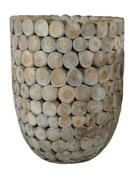 Pflanzkübel aus Teak-Scheiben, groß