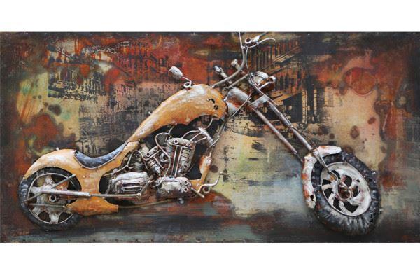 Handgefertigtes Metallbild Custom Bike ca. 80x40 cm Chopper