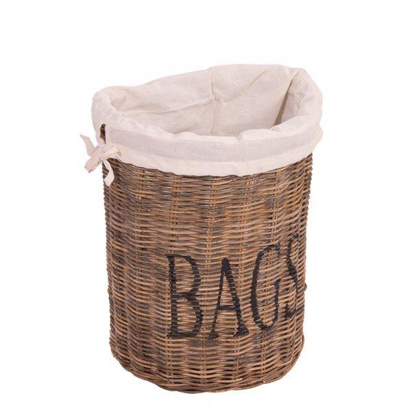 Aufbewahrungskorb Bags mit Stoffbeutel und Schriftzug