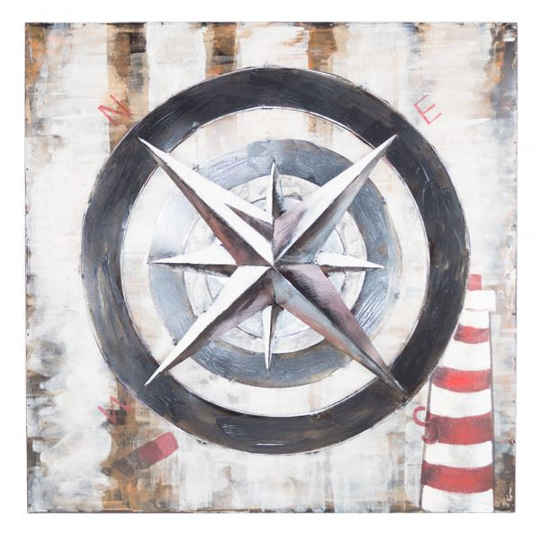 Handgefertigtes Metallbild Kompass ca. 80x80 cm