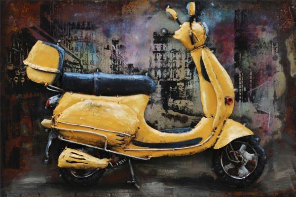 Handgefertigtes Metallbild Scooter ca. 60x40 cm
