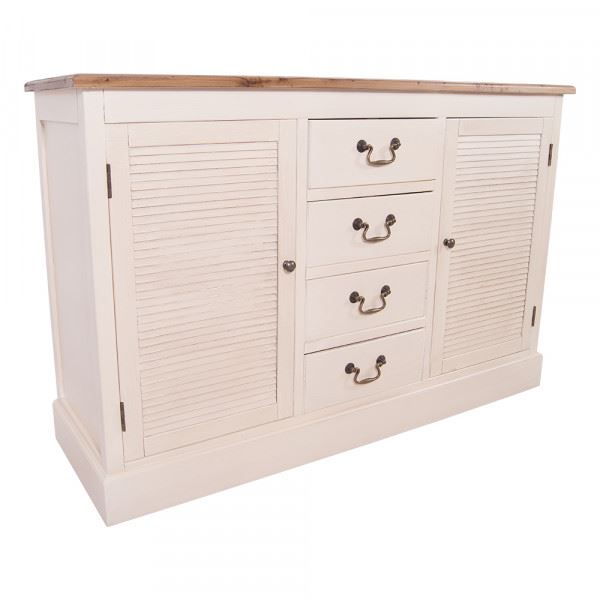 Sideboard Bretagne - 4 Schubladen - 2 Schranktüren - Vintage Look creme weiß