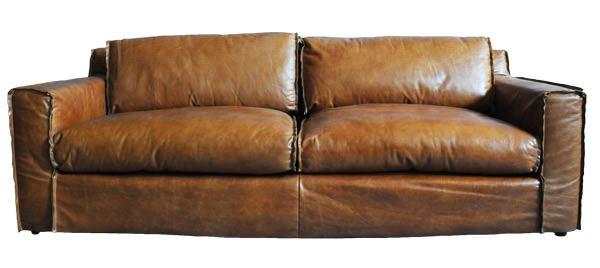 Clubsofa Redhill 3-Sitzer Vintage Leder Frontalansicht