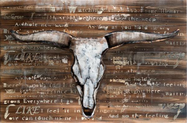 Handgefertigtes Holz-Metallbild Buffalo Skull ca. 115x75 cm
