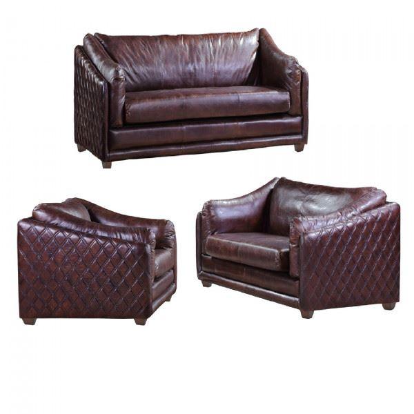 Ledergarnitur Oldham 3-Sitzer 2-Sitzer und Sessel 3+2+1
