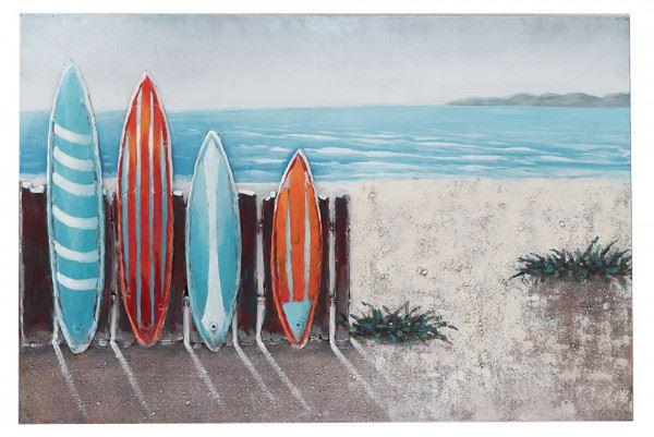 Handgefertigtes Metallbild Surf ca. 120x80 cm