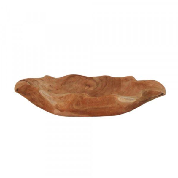 Flache Deko-Schale aus Teakholz mit Fuß
