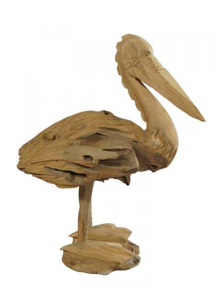 Pelikan-Skulptur aus Teakholz