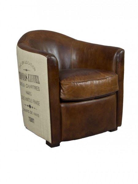 Design Clubsessel Kendal Vintage Leder Jute