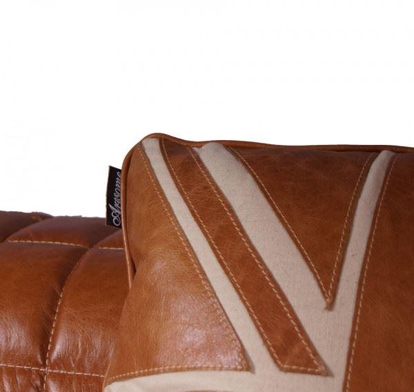 Kissen Saint George's Columbia aus Vintage Leder und Leinen Detail