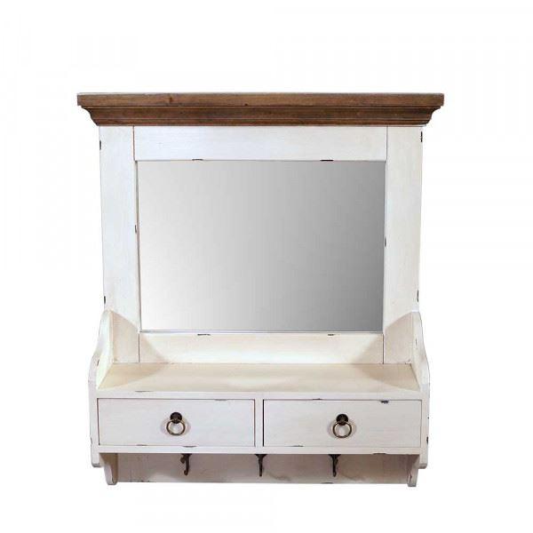 Wandgarderobe Provence mit Spiegel Holz 2 Schubladen Vintage Look creme weiß