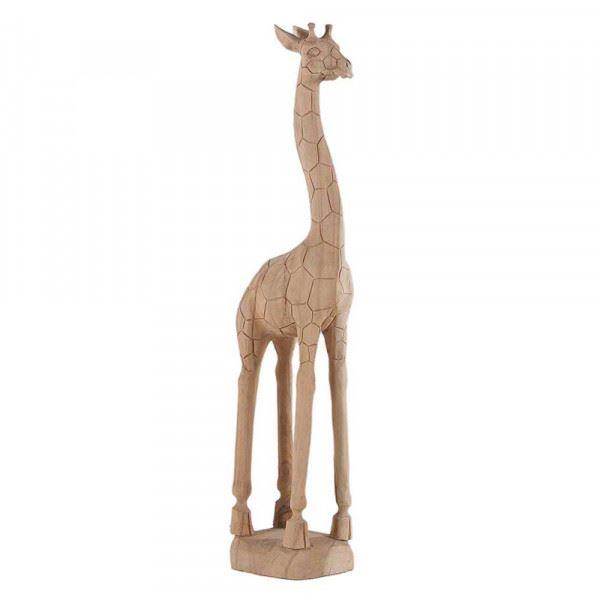 Wohndekoration Tierskulptur Giraffe aus Teakholz ca. 130 cm