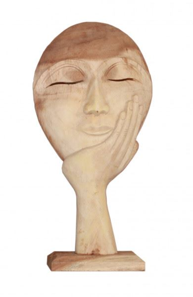 Wohndekoration Skulptur Maske getragen von einer Hand aus Teakholz L