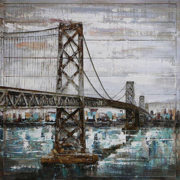 Handgefertigtes Metallbild Bridge ca. 100x100 cm