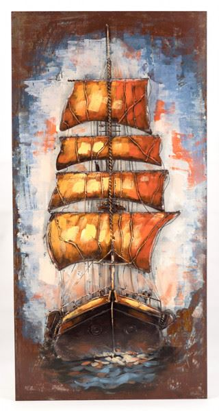 Handgefertigtes Metallbild Sailing ca. 60x120 cm