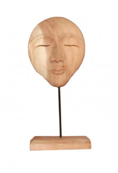 Wohndekoration Skulptur Maske aus Teakholz S