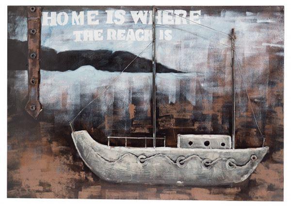 Handgefertigtes Metallbild Home ca. 100x70 cm