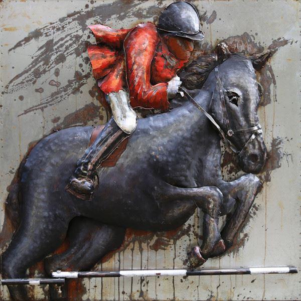 Handgefertigtes Metallbild Horse ca. 100x100 cm