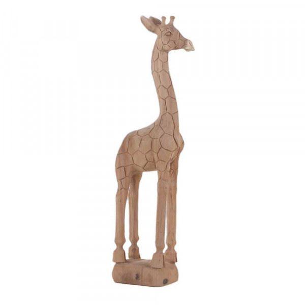 Wohndekoration Tierskulptur Giraffe aus Teakholz ca. 90 cm
