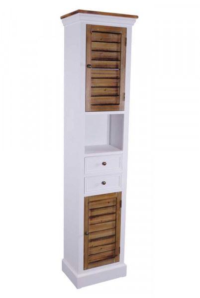 Kommodenturm Paris schmal Holz 2 Schubladen Vintage Look weiß