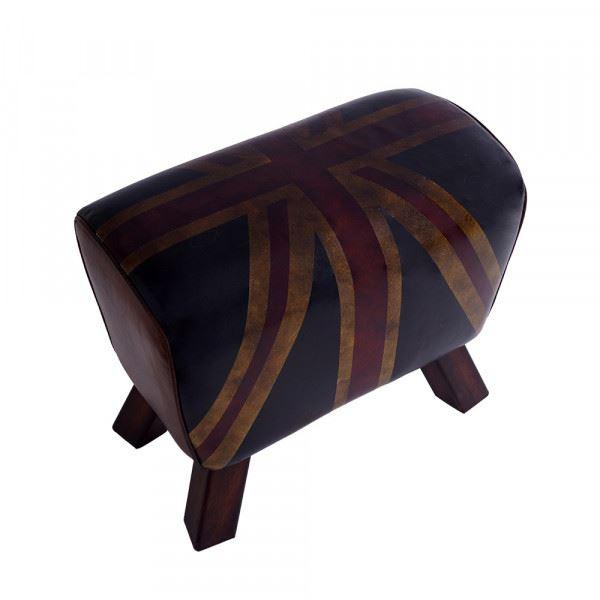 Fußhocker Buck Union Jack Leder Vintage-Cigar