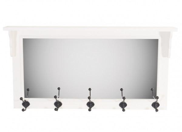 Wandgarderobe Anna mit Spiegel und 5 Haken im Landhaus Stil