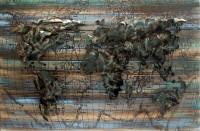 Handgefertigtes Holz-Metallbild World on Wood ca. 115x75 cm
