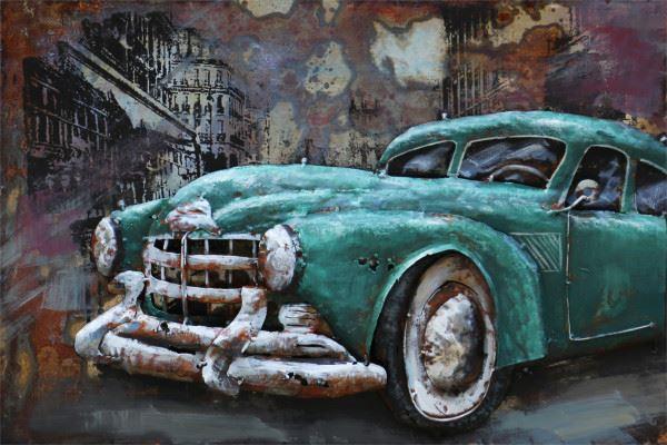 Handgefertigtes Metallbild Oldtimer Cyan ca. 60x40 cm