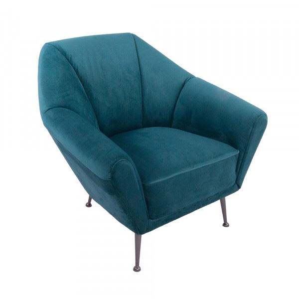Clubsessel Galabria Peacock Blue Samt Edelstahl