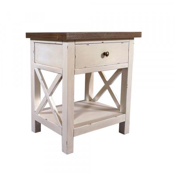Nachttisch Loire Holz Vintage Look creme weiß