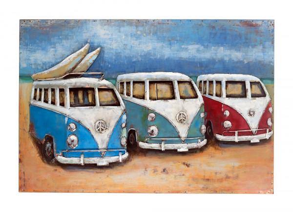 Handgefertigtes Metallbild Busse am Strand ca. 120x80 cm