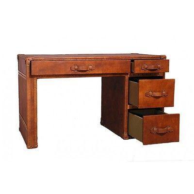 Schreibtisch Dunbar aus Vintage Leder Whiskey Brown