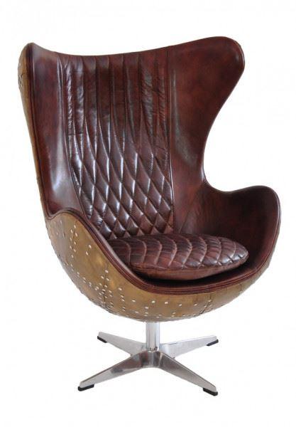 Design Schalensessel Cobham Montaigne Brown Vintage Leder Aluminium