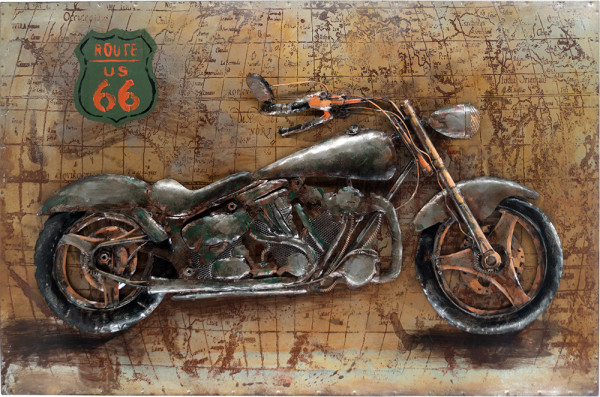 Handgefertigtes Metallbild Motorcycle 66 ca. 115x75 cm