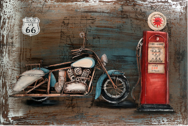Handgefertigtes Metallbild Motorcycle Gasstation ca. 115x75 cm