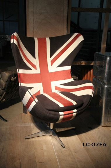 Design Schalensessel Liverpool Velours Union Jack
